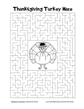"""""""Thanksgiving Turkey"""" Maze!  Holiday FUN! (Color and Black Line)"""