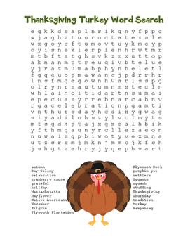 """""""Thanksgiving Turkey"""" Word Search!  Holiday FUN! (Color & Black Line)"""