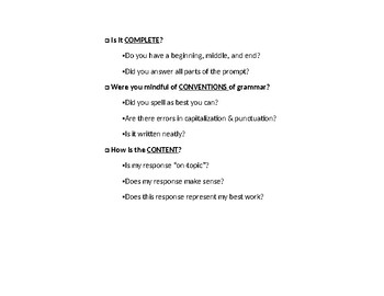 """""""The 3 C's"""" Checklist for Revising/Editing Journal Prompts Before Turning In"""