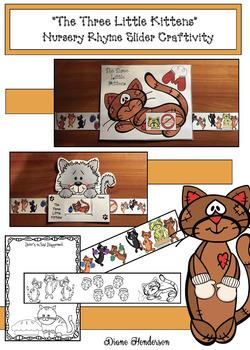 """The 3 Little Kittens"" Nursery Rhyme Slider Craft & Writing Prompt"
