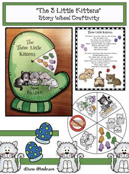 """The 3 Little Kittens"" Nursery Rhyme Story Wheel Craft"