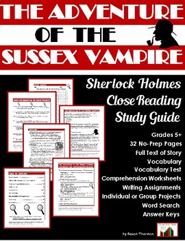 Sherlock Holmes Study Guide: The Adventure of the Sussex Vampire (27 p., $8)