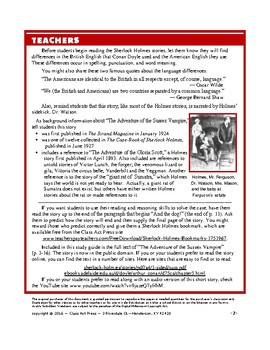 Sherlock Holmes Close Reading Study Guide: The Adventure of the Sussex Vampire