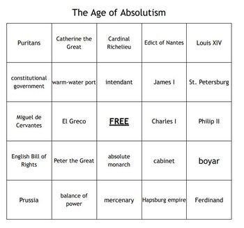 """""""The Age of Absolutism"""" Vocabulary Bingo for a World History Course"""