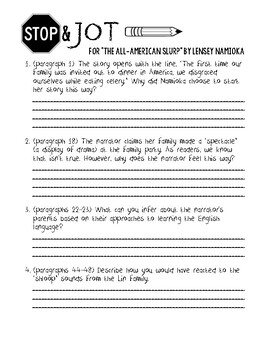 """""""The All-American Slurp"""" Stop & Jot Discussion Questions"""