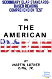 """""""The American Dream""""  by Martin Luther King Reading Comprehension Test"""