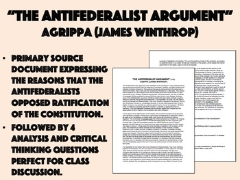 """""""The Antifederalist Argument"""" Reading with Questions - USH/APUSH"""