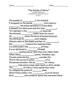 """The Arrow and The Song"" Memorization Worksheets"