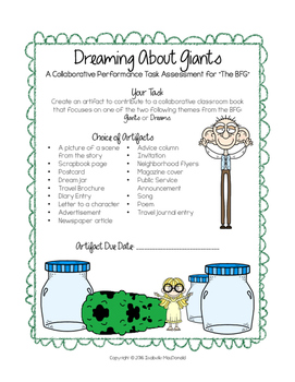 """""""The BFG"""" Performance Task Assessment: Dreaming About Giants"""