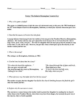 """""""The Ballad of Birmingham"""" Worksheet (or Test) and Detailed Answer Key"""