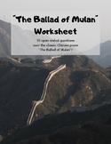 """""""The Ballad of Mulan"""": Worksheet"""