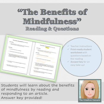 """""""The Benefits of Mindfulness"""" Article and Questions- with ANSWER KEY"""