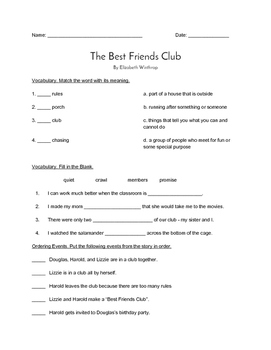 """""""The Best Friends Club"""" QUIZ - Spotlight On Literacy (Book Two - Level 7)"""
