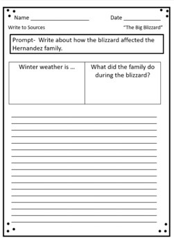 """The Big Blizzard"",  Nora's Ark, ""The Wind and the Sun"" Writing"