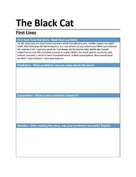"""""""The Black Cat"""" First Lines Pre-reading Activity"""
