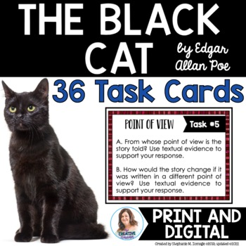 """""""The Black Cat"""" by Edgar Allan Poe Task Cards with EDITABLE Templates"""