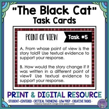"""The Black Cat"" by Edgar Allan Poe Task Cards with EDITABL"