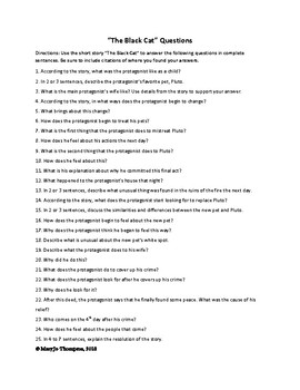 """""""The Black Cat,"""" by Edgar Allen Poe short answer and constructed response"""