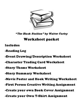 """""""The Black Stallion"""" by Walter Farley Worksheet Packet"""