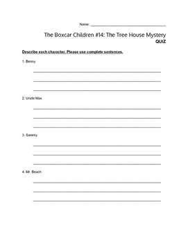 """""""The Boxcar Children #14 - The Treehouse Mystery"""" - QUIZ"""