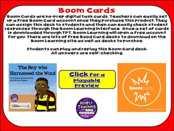 """The Boy Who Harnessed the Wind"" no prep Digital Boom Cards task cards"