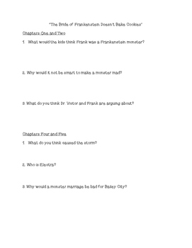 """The Bride of Frankenstein Doesn't Bake Cookies"" Comprehension Questions"
