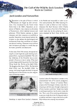 """The Call of the Wild"" - Jack London - Naturalism (Context Handout & Worksheet)"