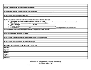 """""""The Cask of Amontillado"""" Reading Guide and Key"""