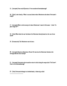 """""""The Cask of Amontillado"""" Reading Questions with Answer Key"""