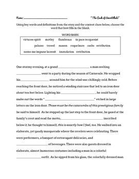 """The Cask of Amontillado"" Vocabulary Activity"
