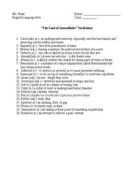 """The Cask of Amontillado"" Vocabulary Words"