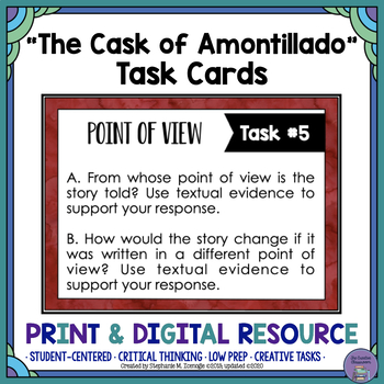"""The Cask of Amontillado"" by Edgar Allan Poe Task Cards"