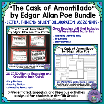 """""""The Cask of Amontillado"""" by Poe Close Reading Unit & Task"""