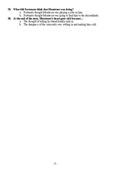 """""""The Cask of Montillado"""" Modified Test and Answer Key"""