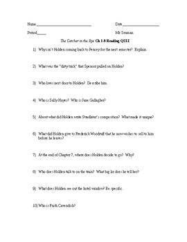 """The Catcher in the Rye"" Ch 1-9 Reading Quiz"