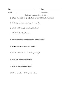 """""""The Catcher in the Rye"""" Ch. 10-17 Reading Quiz"""