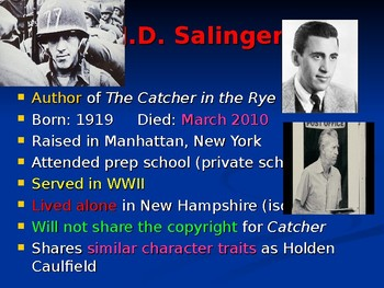 """""""The Catcher in the Rye"""" Power Point Notes"""