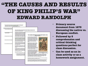"""""""The Causes and Results of King Philip's War"""" - US History/APUSH"""