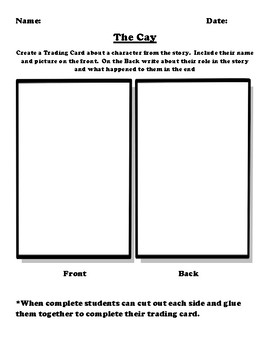 """""""The Cay"""" Trading Card Worksheet"""