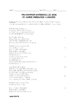 """""""The Champion"""" Lyrical Poetry- Superbowl Activity"""