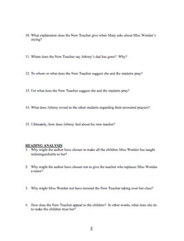 """""""The Children's Story"""" by James Clavell Reading Quiz and Answer Key"""