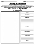 """""""The Color of My Words"""" by Lynn Joseph Story Brochure UDL Worksheet"""
