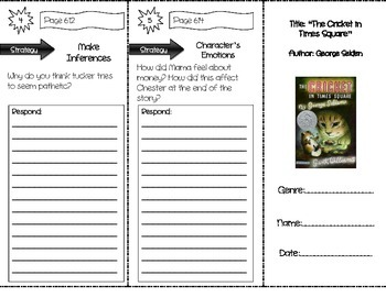 """The Cricket in Times Square"" Comprehension Trifold (Storytown Lesson 23)"