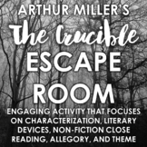 """""""The Crucible"""" Escape Room: Engaging Post-Reading Activity - Distance Learning"""