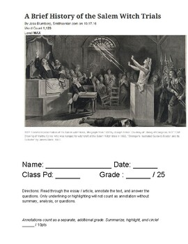 """""""The Crucible"""" Pre-Reading Article (#1 - Max Lexile)"""
