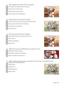"""""""The Crusades"""" - Socrative Quiz - Review or Test"""
