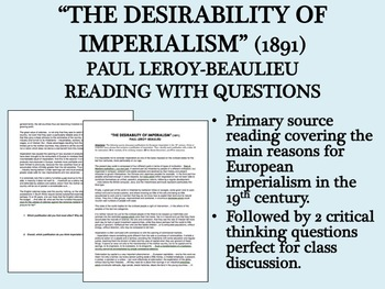 """The Desirability of Imperialism"" reading with questions"
