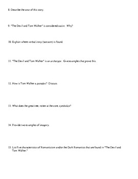 """""""The Devil and Tom Walker"""" Worksheet (or Test) and Detailed Answer Key"""