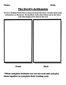 """The Devil's Arithmetic"" Trading Card Worksheet"