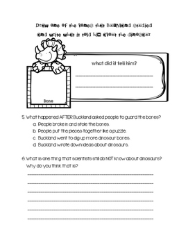 """The Dog That Dug for Dinosaurs"" Journeys Leveled Reading Question Packets"